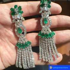 Lots of sparkle with these emerald and diamond ear pendants @dupuisjewels. #diamonds #jewels #emeralds