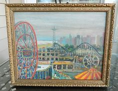 Oil On canvas board. City Painting, Coney Island, Canvas Board, New York City, Oil On Canvas, The Originals, Nyc, Paintings, New York
