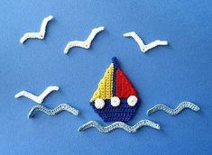 Ravelry: Sailboat, Seagull and Waves Applique Crochet PATTERN pattern by GoldenLucyCrafts (on Etsy). Ravelry: Sailboat, Seagull and Waves Applique Crochet PATTERN pattern by GoldenLucyCrafts (on Etsy). Crochet Boat, Crochet Blocks, Crochet Motif, Crochet Designs, Crochet Flowers, Crochet Appliques, Lace Knitting, Knitting Patterns, Crochet Patterns