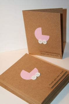 Baby Shower Thank You Card Set, Pink with Tiny Polka Dots,Girl, 10 cards
