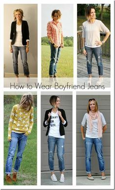7 ways to wear boyfriend jeans I like the more casual looks with boyfriend jeans. Jean Outfits, Fall Outfits, Casual Outfits, Fashion Outfits, Womens Fashion, Fall Fashion, Outfit Jeans, Casual Jeans, Casual Chic
