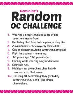 Random OC challenge list by Geminine-nyan on DeviantArt - Random OC challenge list by Geminine-nyan on DeviantArt - 30 Day Drawing Challenge, Art Style Challenge, Oc Challenge, Drawing Poses, Drawing Tips, Oc Drawing Prompts, Drawing Stuff, Deviant Art, Drawing Ideas List