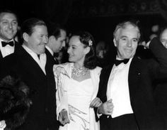 Charlie Chaplin, Paulette Goddard and Jack Oakie at premiere of The Great Dictator, Capitol Theatre, New York, 15 October 1940