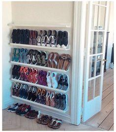 Closet Shoe Storage, Diy Shoe Rack, Shoe Closet Organization, Wall Shoe Rack, Storage For Shoes, Shoe Storage Hacks, Shoe Rack For Small Closet, Front Door Shoe Storage, Shoe Storage Solutions