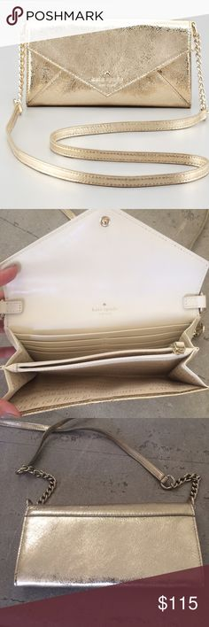 New Kate Spade Harrison Street Kylie gold purse! Gorgeous NWOT Kate Spade Harrison Street Kylie gold metallic crossbody wallet! Never used! Snap closure, interior zip pockets with currency and card slot pockets. Soft leather. 7.5 inches by 4 inches. Top of strap to purse is 23 inches. Bundle and save! kate spade Bags Crossbody Bags