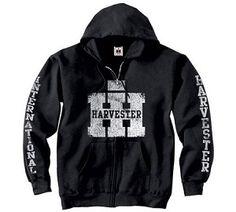 Case International Harvester Collegiate Zip Front Black Hooded Sweatshirt New