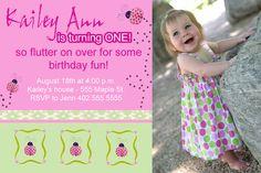 Custom Photo Pink & Green  Ladybug Birthday Party or Baby Shower  Invitation Card   - You Print. $12.00, via Etsy.