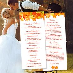 This printable wedding program is a delightful choice for a fall, autumn or Thanksgiving wedding. It is an instant download and will be immediately available to you under the purchases tab of your Etsy account. Your files will be sent to you immediately upon payment through Etsy. Print your own wedding stationery and save hundreds of dollars on your wedding budget. Create your own tea length wedding programs in 3 easy steps ... 1) Change existing example text to your own 2) Print on 8.5 x…