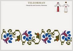 Semne Cusute: Romanian traditional motifs - MUNTENIA, Teleorman Folk Embroidery, Embroidery Patterns Free, Beading Patterns, Cross Stitch Embroidery, Embroidery Designs, Knitting Patterns, Cross Stitch Borders, Cross Stitch Flowers, Cross Stitch Charts