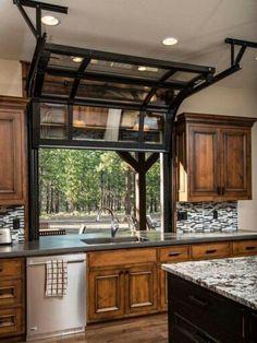 Glass garge door style kitchen window