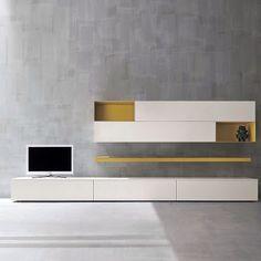 Ensemble mural composable avec support tv SLIM 2 by Dall'Agnese Contemporary Tv Units, Modern Tv, Contemporary Interior, Modern Decor, Interior Flat, Decor Interior Design, Furniture Design, Furniture Ideas, Tv Design