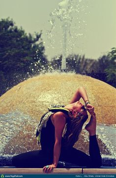 "Yoga Poses Around the World: ""Splish, Splash, Yoga on a hot Middle Eastern Day :) :)"""