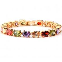 Aliexpress Hot Gold Plated Bracelets & Bangles with Colorful AAA Multicolor Oval Swiss Cubic Zirconia Bracelets for Women Gold Plated Bracelets, Bangle Bracelets, Bangles, Strand Bracelet, 18k Gold, Wedding Rings, Engagement Rings, Chain, Crystals