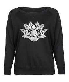 Loving this Black Distressed Lotus Flower Slouchy Pullover - Plus on #zulily! #zulilyfinds