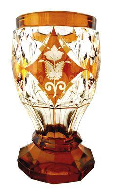 Design K & K Technical School Haida, Model John Oertel & Co., Haida to Joseph, Bohemia Glass, Art Deco Stil, Red Jasper, Amber Glass, Artist At Work, Czech Glass, Swarovski Crystals, Glass Art