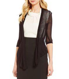 Black:Alex Marie Charlene Long Sleeve Drape Cardigan