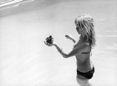 "missbrigittebardot: "" Brigitte Bardot and the duckling she adopted on the set of ""Viva Maria"", 1965 """