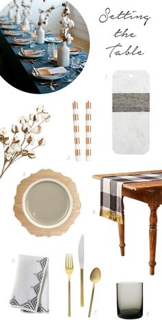 Thanksgiving tabletop inspiration with cotton centerpieces and buffalo plaid table linens make for an organic, cozy, and neutral setting.