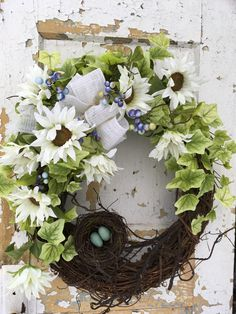 Spring Wreath for Front Door, Easter Wreath, Spring White Wreath with nest by FlowerPowerOhio on Etsy
