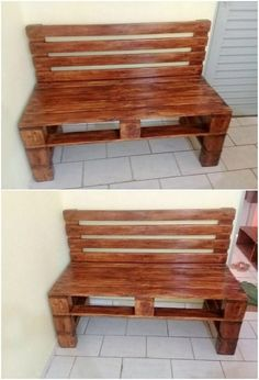 How adorably this wood pallet bench has been finished with the majestic sort of designing work! Although it is simple but its sophisticated designing is bringing an attractive flavor into it. Its dark brown hues shading over the planks is quite a nice and cool effect in the creation artwork.