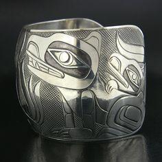 Dean Hunt Silver Telling Stories Bracelet with Oxidization, Northwest Coast Native Art