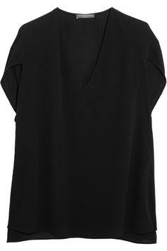 Black silk-crepe Slips on 100% silk Dry clean Made in Italy