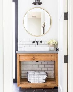 26 Awesome Bathroom Ideas   bamboo   Pinterest   Scaffold boards     Powder Room Love round mirror   powder room   bathroom   bathroom vanity    concrete counter