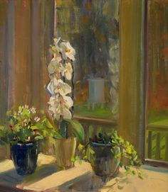 a painting a day: Orchids in the Sun Randolph Macon, Houseplants, Orchids, Sun, Painting, Contemporary, Ebay, Indoor House Plants