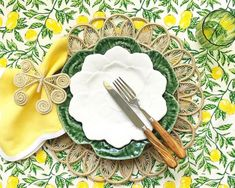 A hand-blocked linen with a lemon print pairs with a mix of cabbage ware and natural accents in @katherineyounghome's delightful tabletop. 📸 : @katherineyounghome (On Instagram) #repost #southernladymag #tabletopinspo #tablescape #tablescapes #lemons #handblocked Lemon Print, Tablescapes, Party Planning, Tabletop, Entertaining, Tableware, Prints, Instagram Repost, Videos