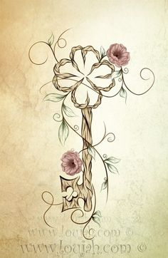 LouJah - Key Lucky  #art #loujah #digital #illustration #draw #drawing #dessin #boho #clef #key #flower #wood #gypsy #bohemian #tattoo