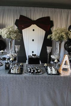 Black and white tuxedo birthday party! See more party planning ideas at CatchMyParty.com!