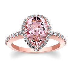 Barkev's Morganite Pear Shape Halo Engagement Ring - MOC 7994LPW