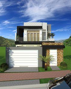 CS - 0027 projeto-planta-casa-sobrado-arquitetura-moderna-180-metros-terreno-8x25 (1) Modern House Design, House Plans, Mansions, House Styles, Projects, Home Decor, Resorts, Ideas, New Houses