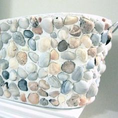 planters covered in shells | DIY Shell Covered Planter ~