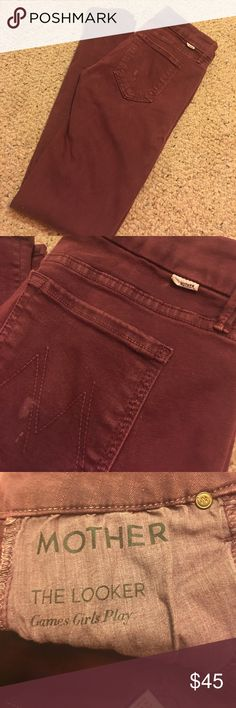 """Mother jeans Mother jeans. Stain on pocket will be gone once I wash them. They are size 26- the looker  """"games girls play"""" skinny jeans, midrise. They are soft material and have stretch to them. Super form fitting. No wear or tears. Make offer MOTHER Jeans Skinny"""
