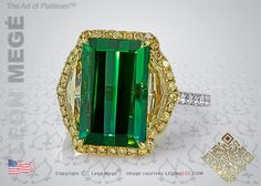Montpassier tourmaline three-stone ring by Leon Mege.
