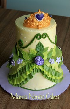 Princess Tiana from Princess and the Frog - Princess Tiana dress cake, matching the colors of decoration. Green, violet, yellow, tiara