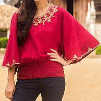 Cotton blouse, 'Cool Sunset'  Novica http://www.novica.com/itemdetail/index.cfm?pid=216036