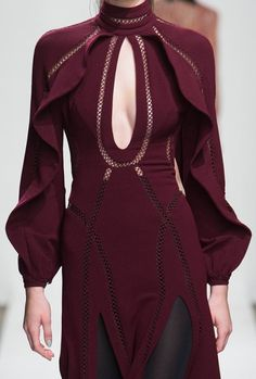 Zimmermann - New York Fashion Week - Fall 2015 burgundy keyhole dress