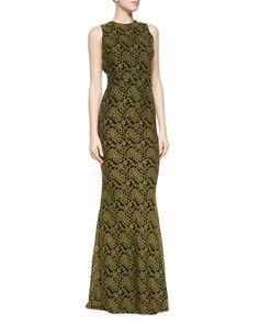 Alice   Olivia Roxie Lace Diamond-Back Dress, Olive, Size: 2