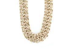Krémovo-zlatý masivní náhrdelník OJJU Pelle Diamond, Bracelets, Jewelry, Jewlery, Jewerly, Schmuck, Diamonds, Jewels, Jewelery