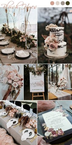 7 Chic and Romantic Blush Pink Modern Wedding Color Ideas moody style blush, dusty rose, neutrals a Fall Wedding Colors, Wedding Color Schemes, Spring Wedding, Wedding Colors For September, Neutral Color Wedding, Wedding Colour Palettes, Champagne Wedding Colors, Rustic Wedding, Our Wedding