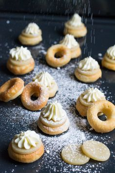 """Mini donut semla recipe - a creative variation of the traditional and beloved Swedish pastry called """"Semla"""". It's small, super cute and sooo good! Donut Recipes, Cookie Recipes, Bar Recipes, Mini Donuts, Doughnuts, Truffle Recipe, Cute Desserts, Pancakes And Waffles, Mudpie"""