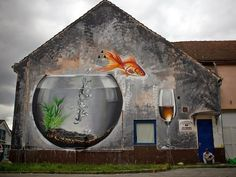 Street mural in Koprivnica, Croatia. Click through for a awesome compilation of street art from all 196 countries.
