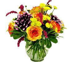 Flowers:      5 Yellow Button Pompon     4 Purple Daliy     6 Orange Roses (60 cm)