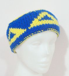Womens or Mens Headband, Delta Delta Delta, Tri Delta in Blue and Yellow  - WINTER SALE by earflaphats on Etsy