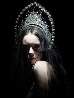 Model in a Russian kokoshnik headdress, art photograph