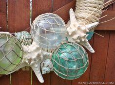 DIY Fishing Floats: Martha Stewart (Frost) 'Glass' paint, clear ornaments, netting & twine.