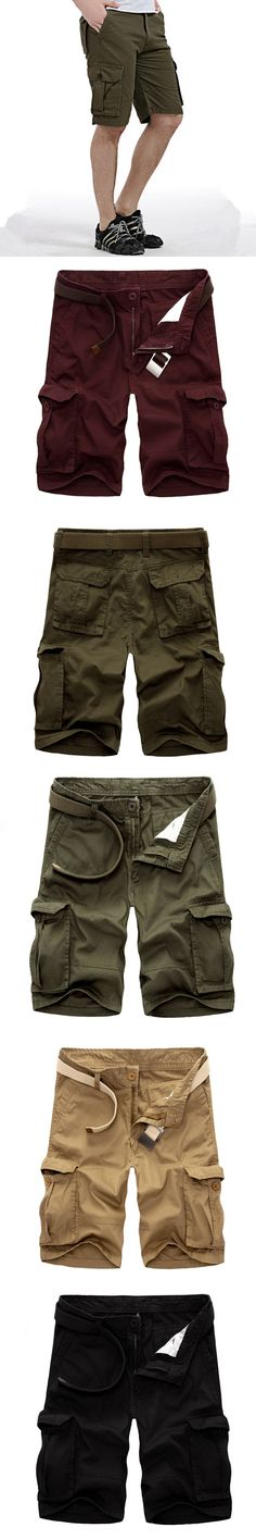 2017 Summer Cotton Casual Shorts For Men Pocket Zipper Straight Harem Solid Black Army-Green Khaki Soft Male Board Trousers