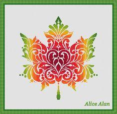 Cross Stitch Pattern Vintage Maple leaf fantasy by HallStitch                                                                                                                                                                                 More